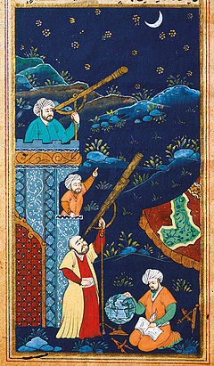 17th century miniature of astrologers studying the stars, from Istanbul University Library