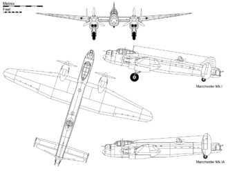Orthographic projection of the Avro Manchester Mk I, with profile detail of Mk.IA