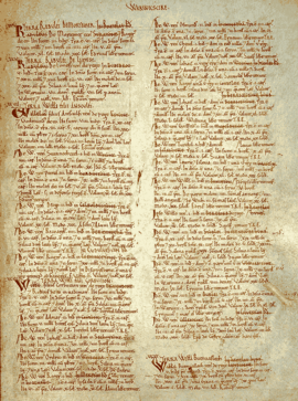 A page from a medieval book, with hand writing in brown ink in two columns on an aged vellum page.
