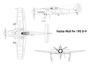 Orthographically projected diagram of the Fw 190 D-9