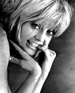Black-and-white publicity photo of Goldie Hawn.