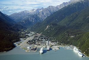 View of Skagway with cruise ships