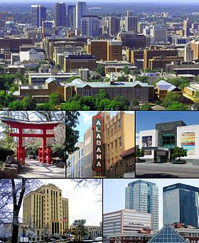 From top left: Downtown from Red Mountain; Torii in the Birmingham Botanical Gardens; Alabama Theatre; Birmingham Museum of Art; City Hall; Downtown Financial Center.