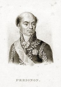 Black and white print of a bald man with a cleft chin. He wears a dark military uniform of a later period with much gold lace. The deep scar over his left eye was from a saber cut during the Battle of Novi.