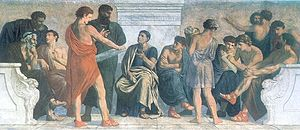 Man in red tunic holding scroll (perhaps Aristotle), in group of men sitting and standing