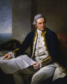 A painting of Captain James Cook in uniform sitting down in front of a map