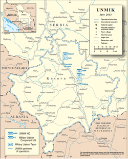 Kosovo – the area encompassed by the black dashed line – as delineated by UN Security Council Resolution 1244.