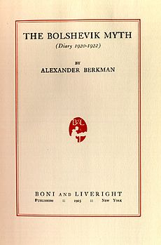 The title page of Berkman's book, The Bolshevik Myth