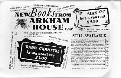 1946 advertisement for Arkham House