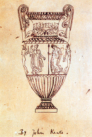 "A fine-line drawing of an urn. It is tall, with high scrolled handles. Around the middle is a frieze of figures, of which four can be seen. From left to right, a naked man with a helmet and sword, a dancing woman in a flowing garment, a robed woman carrying a spear and a naked man with a cloak hanging from his shoulder. The drawing is inscribed ""By John Keats""."