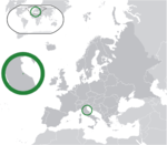 Map showing San Marino in Europe