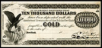 $10,000 Gold Certificate, Series 1865, Fr.1166g, with a vignette of an eagle and shield (left) and justice (bottom center).