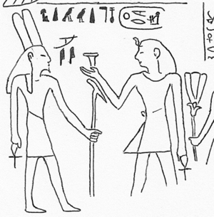 Merdjefare (right) offering to the god Sopdharsopd (left)[1]