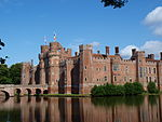 Herstmonceux Castle with Attached Bridges to North and South and Causeway with Moat Retaining Walls to West
