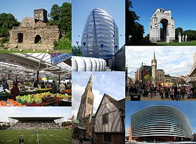 Leicester landmarks: (clockwise from top-left) Jewry Wall, National Space Centre, Leicester War Memorial, Central Leicester, Curve theatre, Leicester Cathedral and Guildhall, Welford Road Stadium, Leicester Market