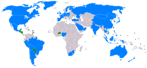 A map of the world showing countries which have relations with the Republic of China. Only a few small countries officially recognize the government of Taiwan, mainly in Central America, South America and Africa.