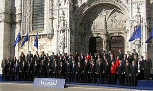 crowd in front of cathedral celebration joining the EU in 2007