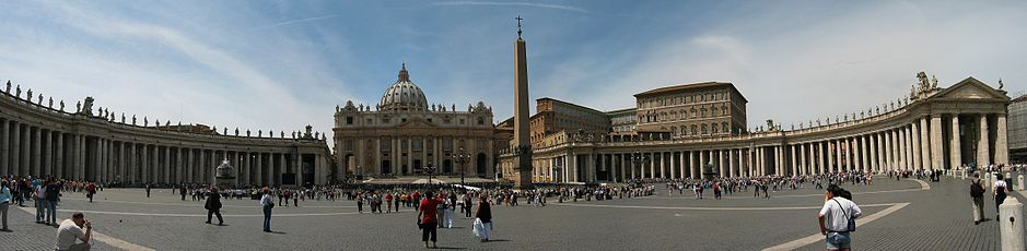 St. Peter's Square, the basilica and obelisk, from Piazza Pio XII