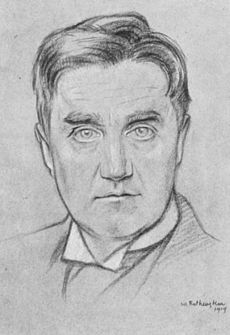 Drawing of a man in early middle age, clean shaven, with a good head of hair, looking towards the viewer