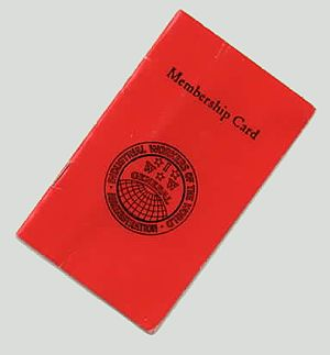 "A small red cardstock booklet bearing the text, ""Membership Card"", and an IWW globe insignia."