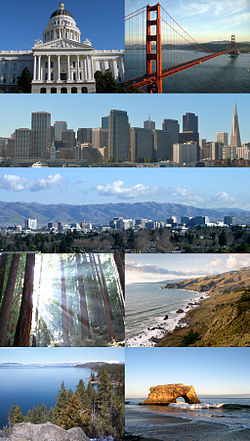 Clockwise: California State Capitol in Sacramento, Golden Gate Bridge, San Francisco skyline, San Jose skyline, Muir Woods National Monument, the northern California coast as seen from Muir Beach Overlook, view of the California side of Lake Tahoe and Natural Bridges State Beach in Santa Cruz.