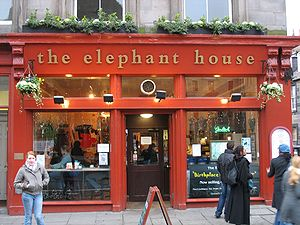 """The Elephant House"", a small, painted red café where Rowling wrote a few chapters of Harry Potter and the Philosopher's Stone."