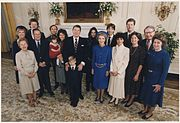 Photograph of 1985 Inaugural Family Photo, (from left to right) Bess Davis, Maureen Reagan, Dennis Revell, Michael... - NARA - 198560.jpg