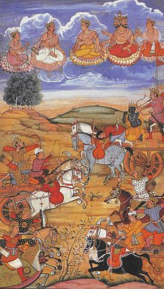 An old painting illustrating the battle scene of the Mahabharata war. Arjuna is seen fighting the Kauravas with the gods looking down at the battlefield.