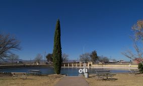A photo of the main area of the swimming pool at Balmorhea State Park