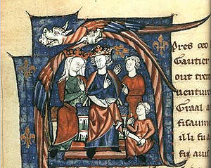 An illuminated manuscript, showing Henry and Aquitaine sat on thrones, accompanied by two staff. Two elaborate birds form a canopy over the pair of rulers.
