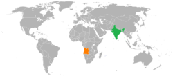Map indicating locations of Angola and India