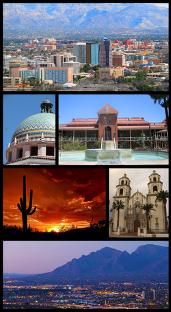 From upper left: Downtown Tucson Skyline, Pima County Courthouse, Old Main, University of Arizona, Saguaro National Park, St. Augustine Cathedral, Santa Catalina Mountains