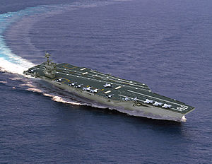 CGI image of new aircraft carrier underway.