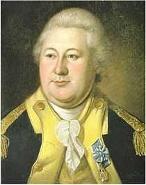 Portrait shows a portly man with white hair and a double chin. He wears the uniform of the Continental Army, a dark blue coat with buff lapels and facings.