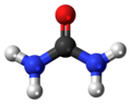 Ball-and-stick model of the urea molecule