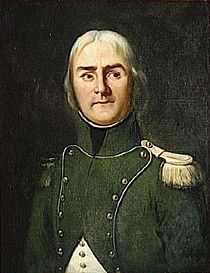 Painting of a man with light-colored hair and dark eyebrows wearing a blue military uniform in 1792.