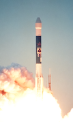 Launch photo of Mars Polar Lander being lifted into space by a Delta II launch vehicle