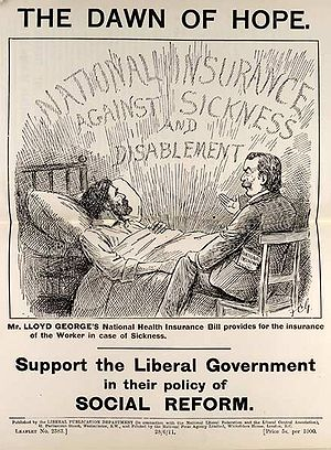 "Leaflet, titled ""Dawn of hope,"" showing a sick man being attended to by a doctor, with the caption ""Support the Liberal government in their policy of social reform""."