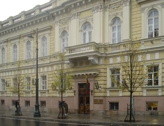 Bank of Lithuania headquarters in Gediminas Avenue, built by the order of Józef Montwiłł in 1889–1891