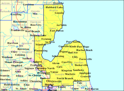 Map of the 5th Congressional District of Michigan from 1993 to 2003