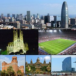 Central business district, Sagrada Família, Camp Nou stadium, The Castle of the Three Dragons, Palau Nacional, W Barcelona hotel and beach