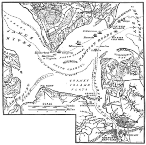 Contemporary map of Battle of Hampton Roads; from Century Magazine, March 1885
