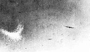 Grainy Second World War photograph of a cloud of chaff dropped from an aircraft