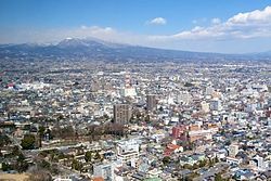 A view of Maebashi with Mt. Akagi, from the top of the Prefectural Government building