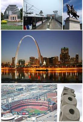 From top left: Forest Park Jewel Box, MetroLink at Lambert-St. Louis International Airport, Apotheosis of St. Louis at the Saint Louis Art Museum, The Gateway Arch and the St. Louis skyline, Busch Stadium, and the St. Louis Zoo