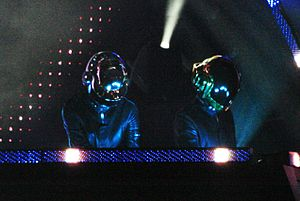 Daft Punk at O2 Wireless Festival, helmeted musicians at keyboard