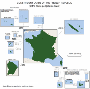 diagram of the overseas territories of France showing map shapes