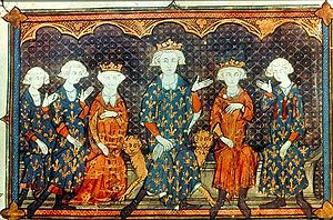 Image of vellum manuscript from 1313 of Isabella, third from left, with her father, Philip IV, her future French king brothers, and Philip's brother, Charles of Valois