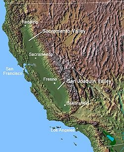 A map of the central valley of California
