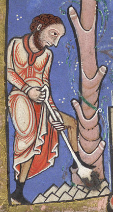 Detail from a medieval illustrated manuscript, showing a bearded peasant in long red robes digging with a spade; a stylised tree makes up the right hand side of the image.